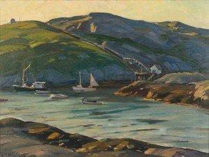 """Aldro Thompson Hibbard (1886-1972) """"Monhegan Harbor"""""""