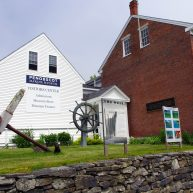 Front of the Penobscot Marine Museum in Searsport Maine